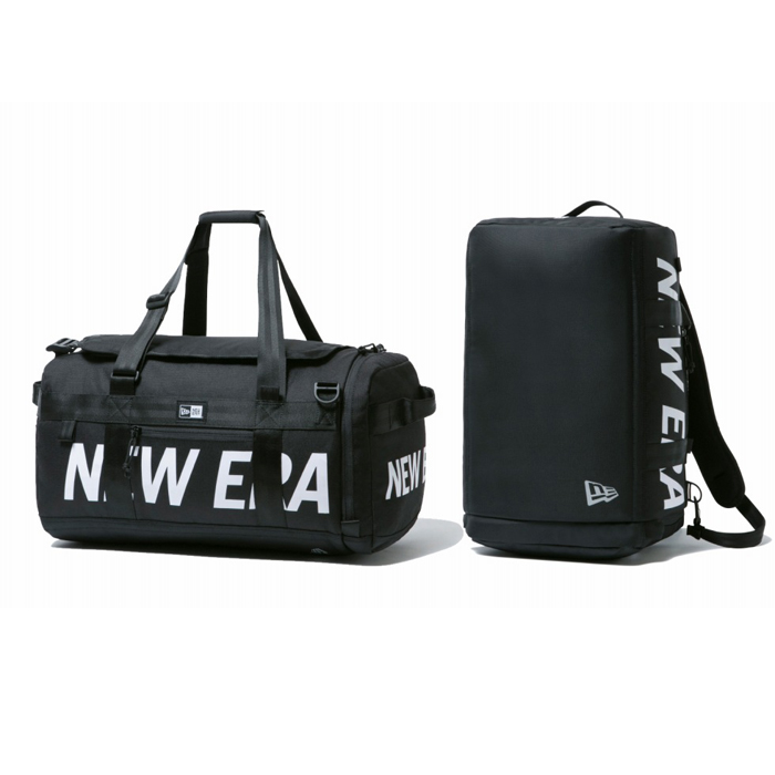 ニューエラ NEW ERA クラブ ダッフルバッグ Mid 35L 2ウェイ プリントロゴ ブラック × ホワイト 日本正規品