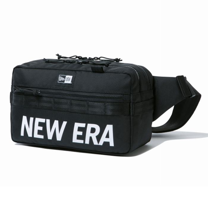 ニューエラ NEW ERA スクエア ウエストバッグ 7L プリントロゴ ブラック × ホワイト 日本正規品