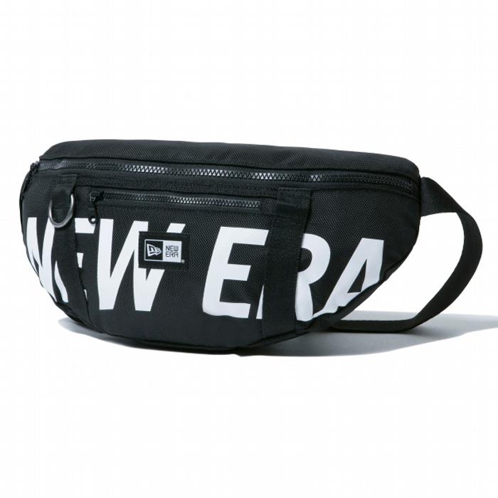 ニューエラ NEW ERA ウエストバッグ 2L プリントロゴ ブラック × ホワイト 日本正規品