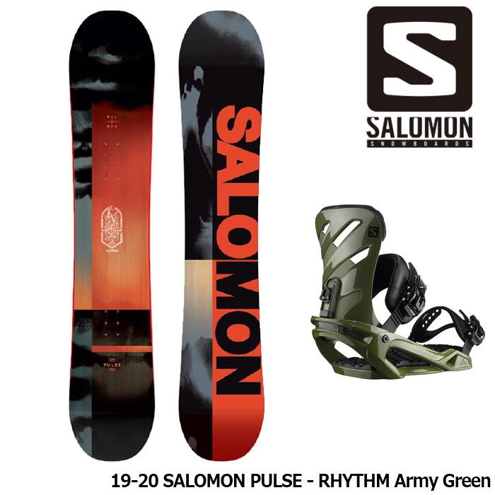 サロモン スノーボード2点セット 19-20 SALOMON PULSE - RHYTHM Army Green 板 ビンディング 金具 日本正規品