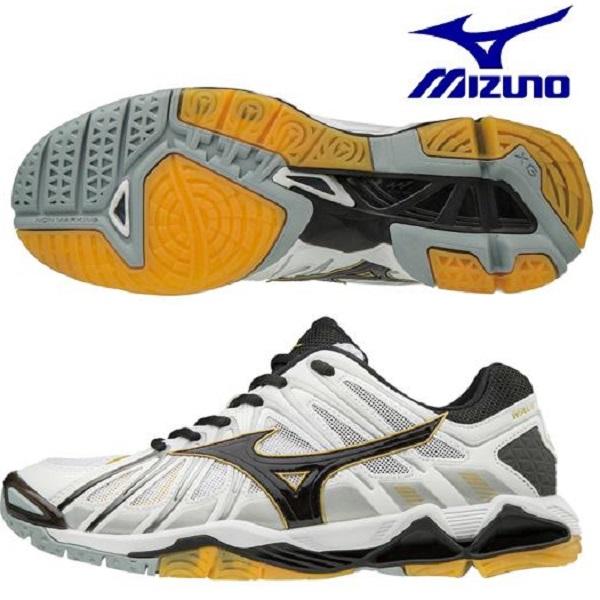 ミズノ Mizuno バレーボールシューズ ウエーブトルネードX2 V1GA181209 ホワイト×ブラック×ゴールド2018SS