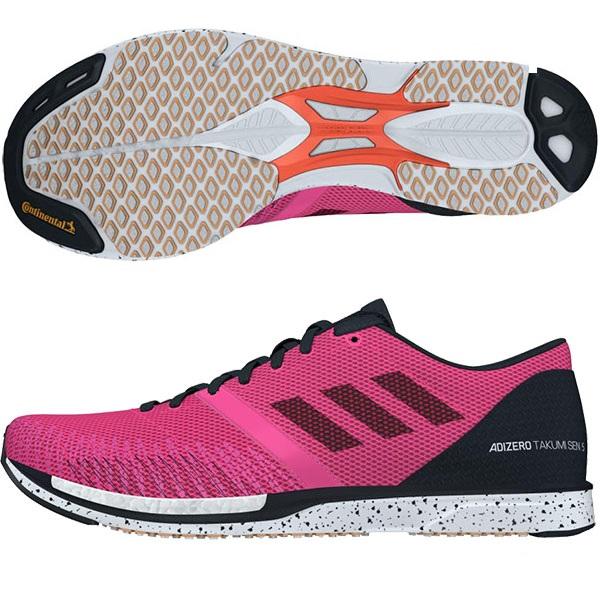 アディダス adidas メンズ レディース アディゼロ タクミ セン ワイド adizero takumi sen 5 wide ジョギング マラソン ランニングシューズ EF0700 ショックピンク F18/コアブラック/ランニングホワイト 19Q3