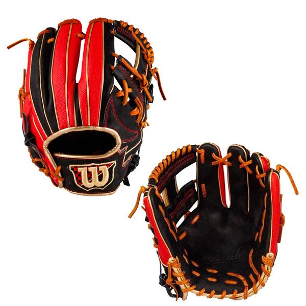 ウィルソン 軟式グラブ 内野手用 軟式グローブ 軟式野球 WTARHFD5H ブラック×スカーレット