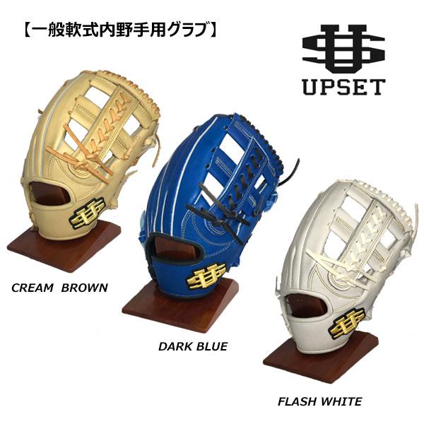 アップセット 軟式グラブ 内野手用 ブルー ホワイト ブラウン グラブ グローブ 右投用 ステア 軟式野球 大人 一般