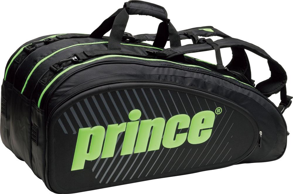 Prince(プリンス)テニスバッグ【男女兼用 テニス用ラケットバッグ】 ラケットバッグ9本入TT701BLK/GRN