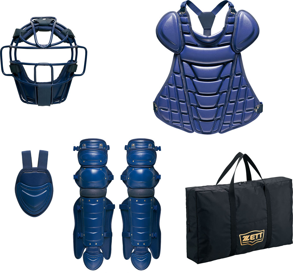 ZETT(ゼット)野球&ソフトマスク・プロテクター硬式野球用 キャッチャー防具4点セット SG基準対応BL142ネイビー
