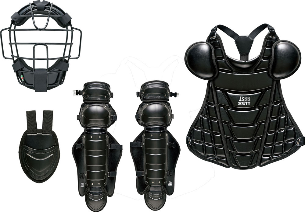 ZETT(ゼット)野球&ソフトマスク・プロテクター軟式野球用キャッチャー防具 4点セット 大人・中学生用BL358ブラック