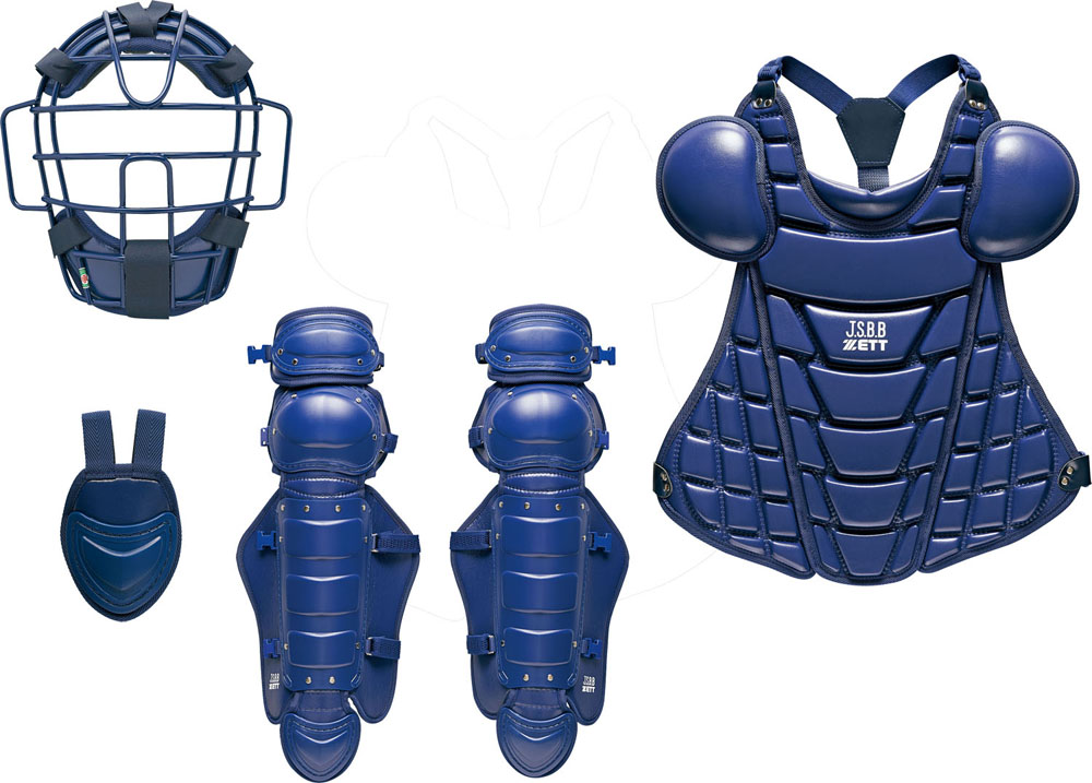 ZETT(ゼット)野球&ソフトマスク・プロテクター軟式野球用キャッチャー防具 4点セット 大人・中学生用BL358ネイビー