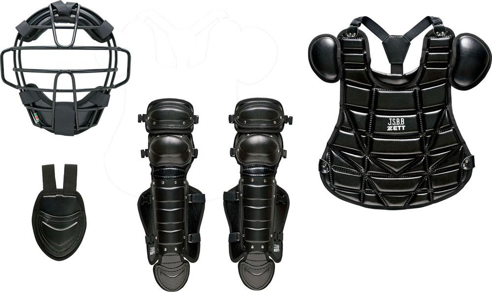 ZETT(ゼット)野球&ソフトマスク・プロテクター少年軟式野球用 キャッチャー防具4点セット SG基準対応BL727ブラック