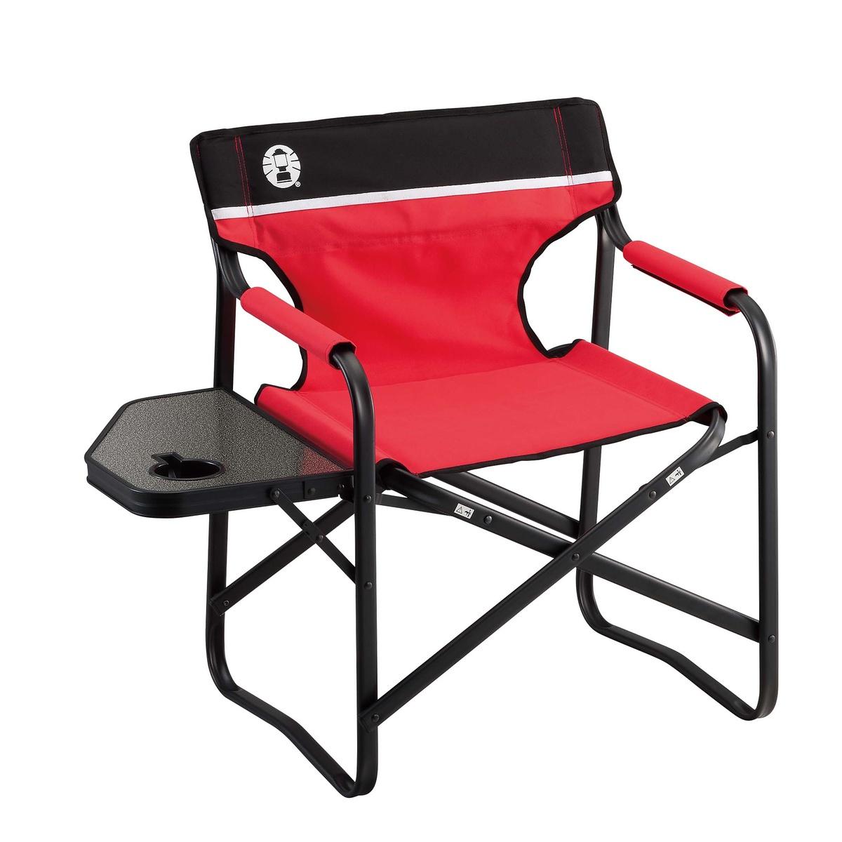 正規品スーパーSALE×店内全品キャンペーン コールマン キャンプ用品 ファミリーチェア 椅子 2000017005 レッド サイドテーブル付デッキチェアST 贈呈 COLEMAN