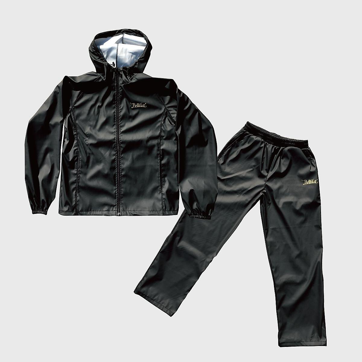 【送料無料】 フィットネス 健康 メンズサウナウェア トレーニングアパレル BELL FLAT サウナスーツ BK×BK ブラック KS8001