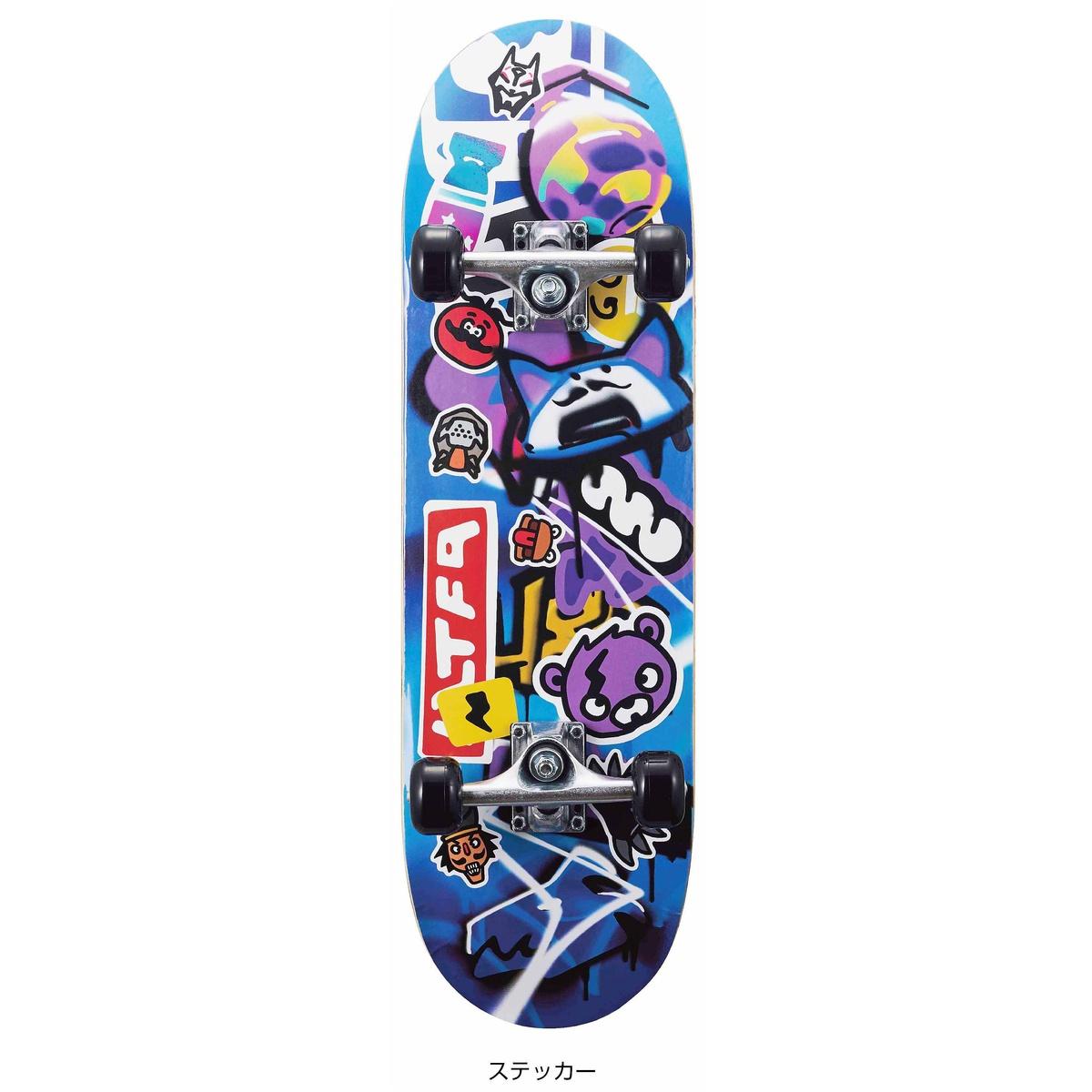 気質アップ ホイール エクストリーム スケートボード 豊富な品 フォートナイトスケートボード ステッカー FN20SB-SK ジュニア 28inch BLU