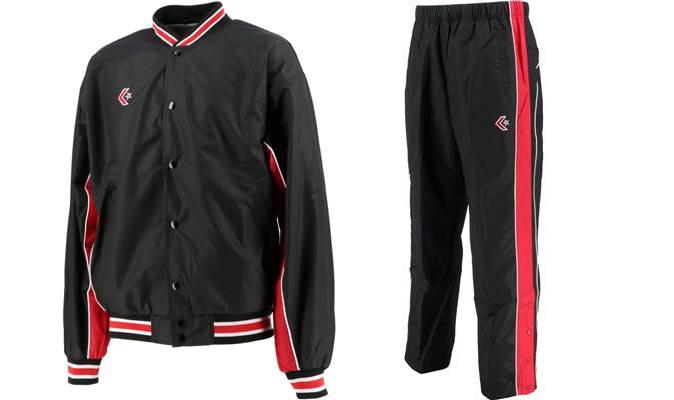 高品質 コンバース ウォームアップジャケット 即納 パンツ上下セット CB182112S P ウインドブレーカー レッド ブラック