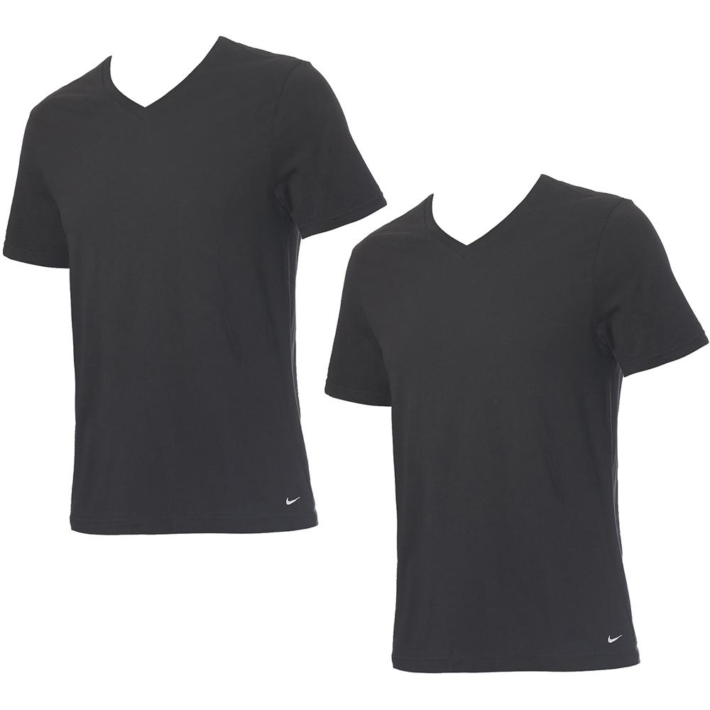 ナイキ AL完売しました。 アンダーウェア エブリデイ コットン テレビで話題 Vネックシャツ 2枚組 KE1004 下着 ブラック V首シャツ 半袖
