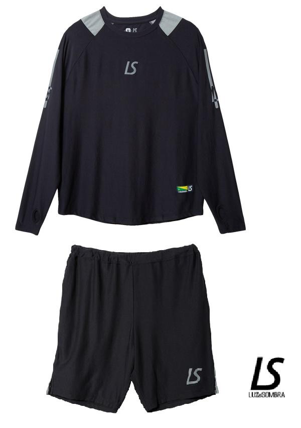 ルースイソンブラ LUZeSOMBRA スーパーフライ プラクティスシャツ プラクティスパンツ 上下組 上下セット Lサイズ ブラック 長袖 ロングスリーブ ハーフパンツ プラシャツ プラパン フットサル ウェア