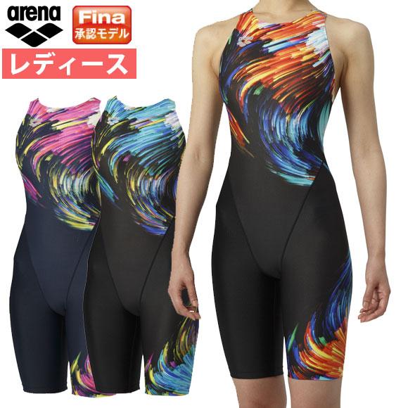 アリーナ ( arena ) レディース 競泳水着 Fina承認 ARN-9062W セイフリーバックスパッツ (着やストラップ ) 水泳 競技水着
