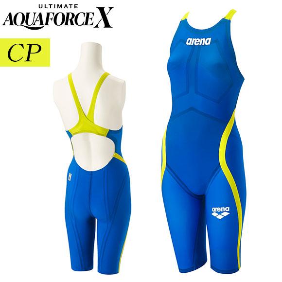 [15%OFFクーポン] アルティメット アクアフォース X エックス CP レディース アリーナ arena 上級者用 競泳水着 FINA承認 ハーフスパッツフラットクロスバック ARN-0000W SBLU 高速水着 返品交換不可
