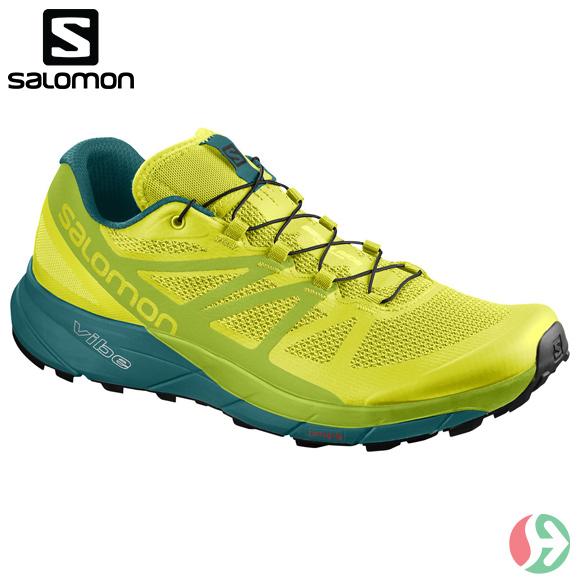 サロモン (Salomon) メンズ トレランシューズ FOOTWEAR SENSE RIDE SULPHUR SPRING / LIME GREEN / DEEP LAKE L40250100 トレーニング レーシング