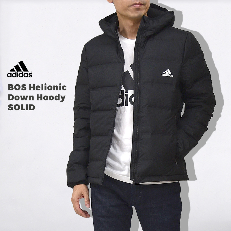 アディダス adidas メンズ ダウン ジャケット フード BOS Helionic Down Hoody SOLIDBOS ヘリオニック ダウン フーディ ソリッド BQ2001 黒