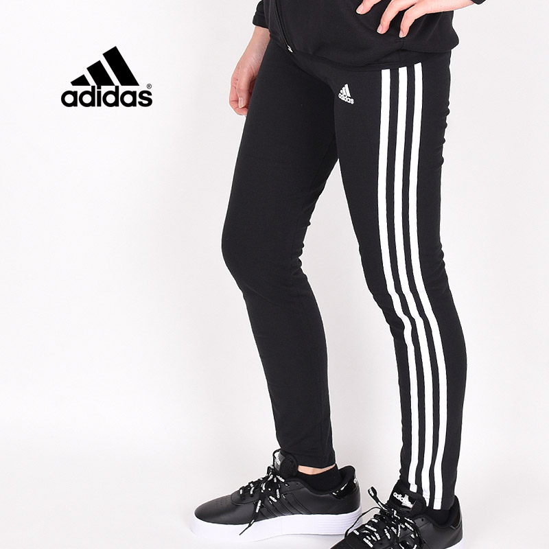 ガールズ ジュニア キッズ タイツ ブラック アディダス adidas スポーツウェア トレーニング ランニング 運動 G ESS 3ストライプス コットンタイツ GN4046 黒