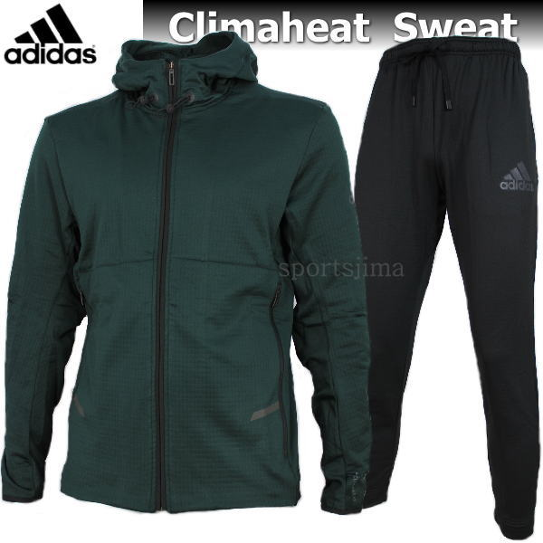 adidas アディダス Climaheat 裏起毛 あったか スウェット ジャケット パンツ 上下 EVZ13 CV5930 DJX89 BR3755 グリーン×ブラック