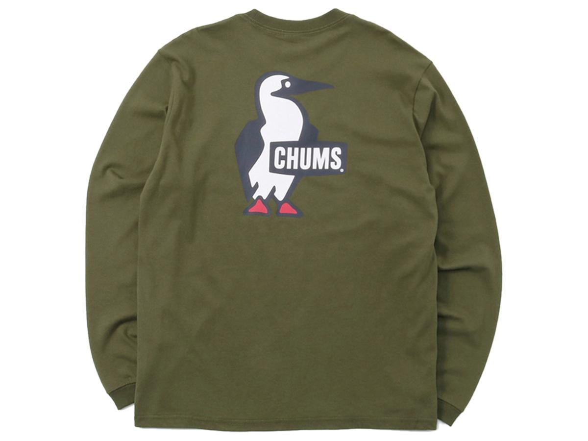 カジュアル シャツ チャムス CHUMS Booby Logo L/S T-Shirt ブービーロゴロングスリーブTシャツ メンズ レディース 秋 冬 コットン 綿 カーキ 枯草色 カジュアル シャツ CH01-1896-Khaki