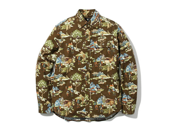 【送料無料】スノーピーク:【メンズ】マウンテンプリントシャツ【snowpeak Mountain Printed Shirt 長袖シャツ】【あす楽_土曜営業】【あす楽_日曜営業】【191013】