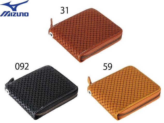 グラブ革 ファスナー付 二つ折り財布 型押し ミズノ 1GJYG01300