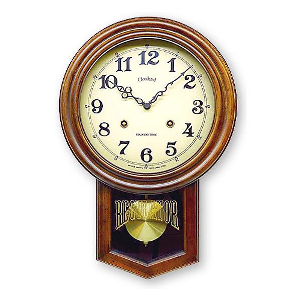 さんてる アンティーク 電波振り子掛時計 DQL623 丸型 アンティークブラウン 日本製