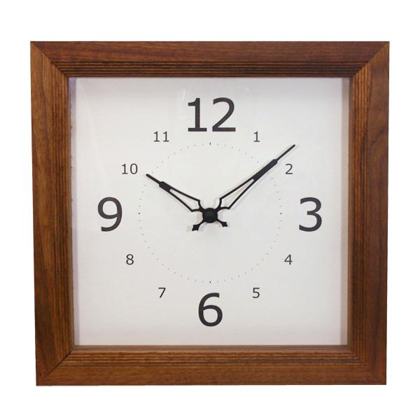 La Luz ラ・ルース リブクロック スクエア ブラウン BR107351 掛け時計 木製 日本製
