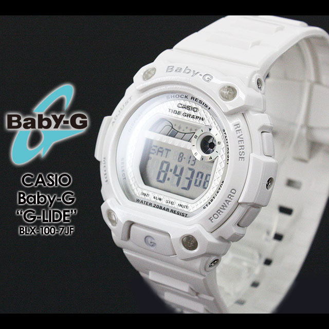 CASIO/G-SHOCK/g-shock g shock G shock G-shock Color Display Series/G-LIDE baby-g baby G baby g women for watch BLX-100-7JF/white×silver ladies