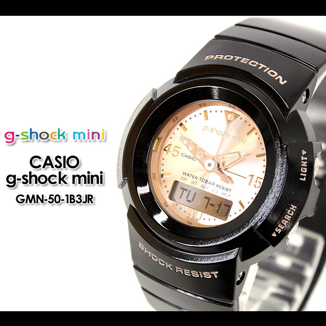 CASIO/G-SHOCK/g shock G shock G-shock g-shock mini g-shock mini ladies watch GMN-50-1B3JR/black/pink gold ladies