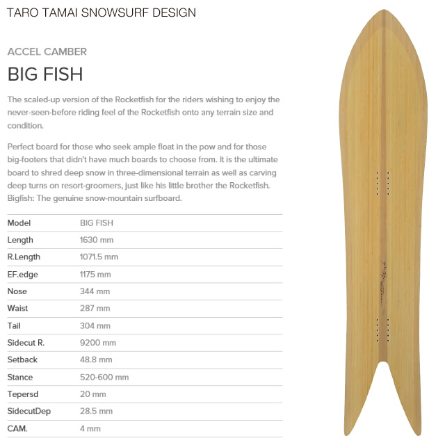 【TTSS】【TARO TAMAI SNOWSURF DESIGN】タロー タマイ スノーサーフデザイン【BIG FISH】ビッグ フィッシュ GENTEM STICK スノーボード