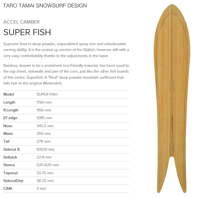 【TTSS】【TARO TAMAI SNOWSURF DESIGN】タロー タマイ スノーサーフデザイン【SUPER FISH】スーパー フィッシュ GENTEM STICK スノーボード