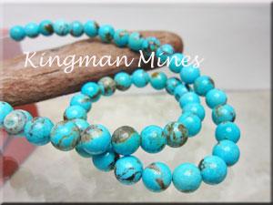【キングマン鉱山産】ターコイズ(トルコ石) 8mm珠ブレスレット【歳末セール、在庫一掃セール】