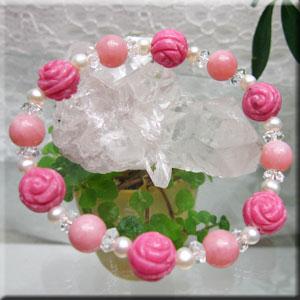 薔薇型ロードナイト&ピンクオパールのデザインブレス