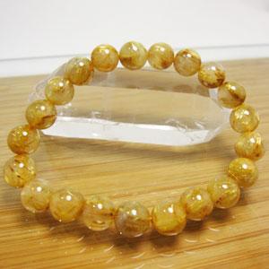ルチルクオール(金針水晶)ブレスレット/ゴールドルチル8~9mm大/内径:16cm