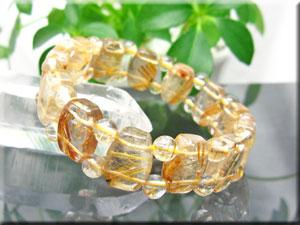 ゴールド・ルチル・クオーツ/金針水晶/3Aグレード/バングル型&丸珠ルチルブレス/タイチン