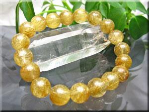 ルチルクオール(金針水晶)ブレスレット/大きさ約10mm:ゴールドルチルクオーツ 6Aグレード/19珠使用/サイズ:約17cm