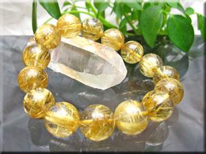 最高級ゴールド・タイチン・ルチルクオーツ 8Aグレード/大きさ:14mm珠x15珠/内径:約16cm【天然石/パワーストーン /ブレスレット】(タイチン)