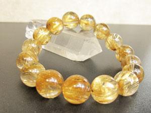 15A ゴールド・タイチン・ルチルクオーツのブレスレット 13mm珠(サイズ:約17.5cm)【天然石/パワーストーン /ブレスレット】(タイチン)