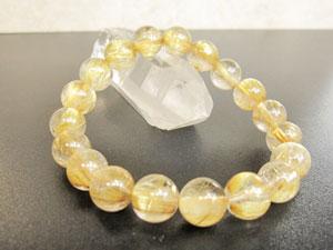 約11mm大ゴールドルチルクオーツ/18珠使用/サイズ:約18cm(タイチン)