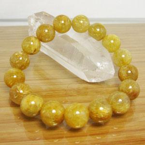 ルチルクオール(金針水晶)ブレスレット/ゴールドルチル約10mm大/内径:約15.5cm