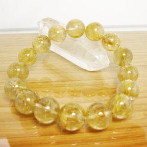 ルチルクオール(金針水晶)ブレスレット/大きさ:約13mm ゴールドルチル 内径:約17.5cm