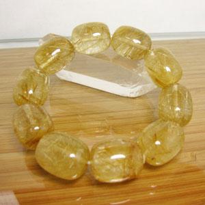 ルチルクオール(金針水晶)ブレスレット/大きさ:約16x20mm ゴールドルチル 内径:約16.5cm