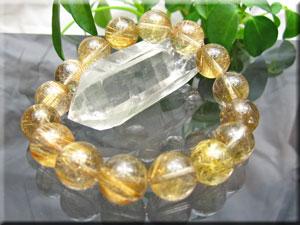 約13mm珠ゴールドルチルクオーツ 6Aグレード/16珠使用/サイズ:約17.5cm(タイチン)