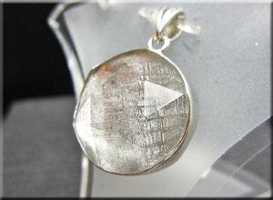 ギベオン&六芒星水晶 シルバーペンダントトップ 19×18mm