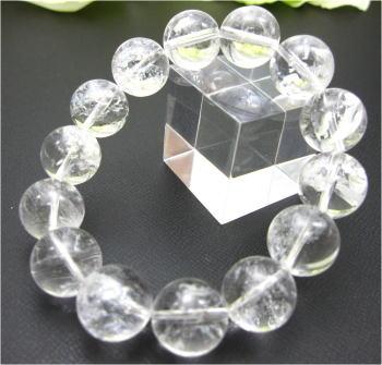 14mm珠 天然レインポー水晶ブレスレット