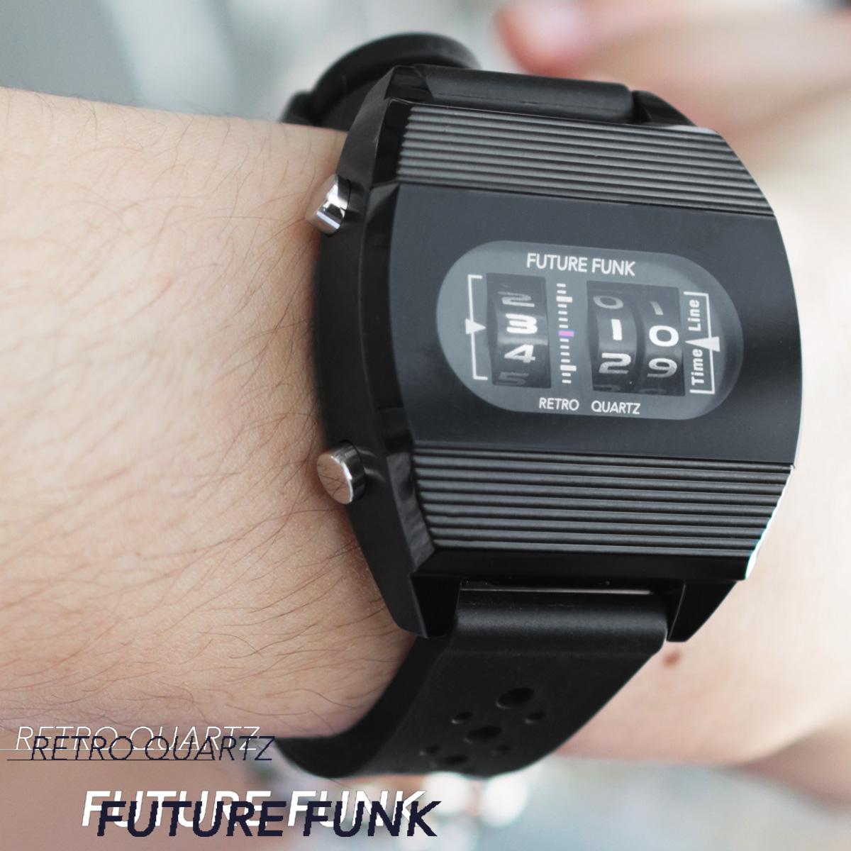 腕時計 メンズ ラバー バンド クオーツ腕時計 メンズ レディース ペア ユニセックス ブラック アナログ デジタル ウォッチ ギフト プレゼント FUTURE FUNK フューチャーファンク FF104-BK-RB
