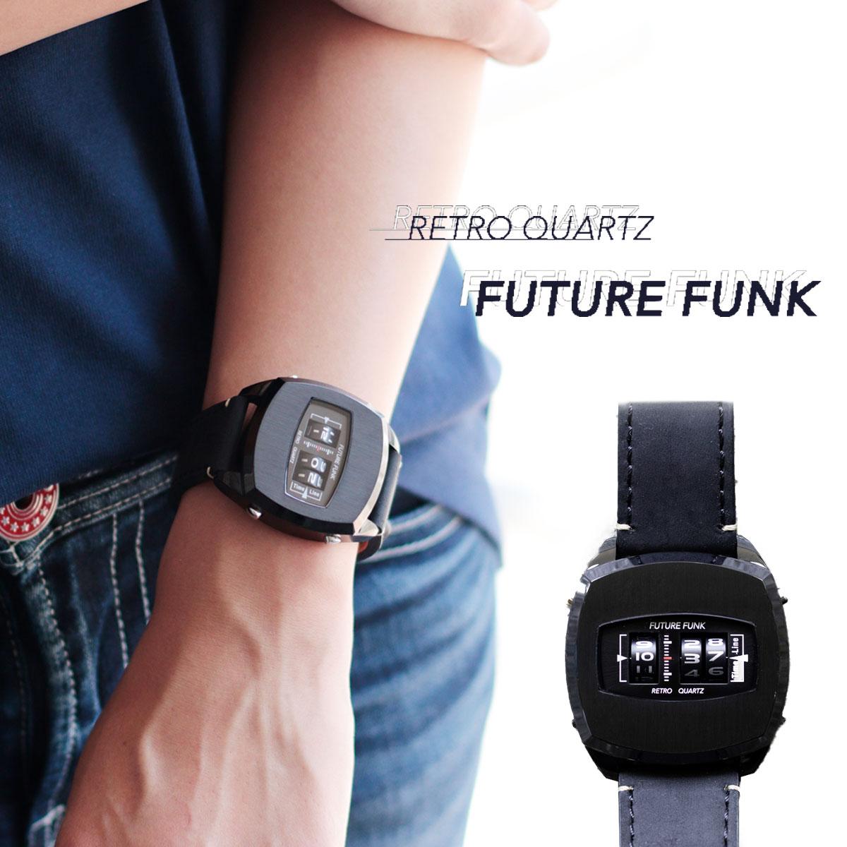FUTURE FUNK フューチャーファンク FF101-BK-LBK クオーツ腕時計 メンズ レディース ペア ユニセックス シルバー/ブラック アナログ デジタル ウォッチ スクエア ギフト プレゼント